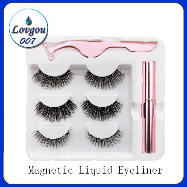 3 Paare magnetische Wimpern Fehler Wimpern + Flüssigkeit Eyeliner + Pinzette Augen Make-up Set 3D Magnet Falsche Wimpern natürlich wiederverwendbar