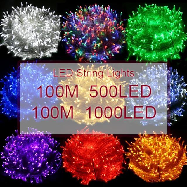 Luz de cadena LED 100M 500LEDS 1000leds LED Fairy 110V 220V Aire libre impermeable Holiday String Guirnalda para Navidad Navidad Fiesta de boda