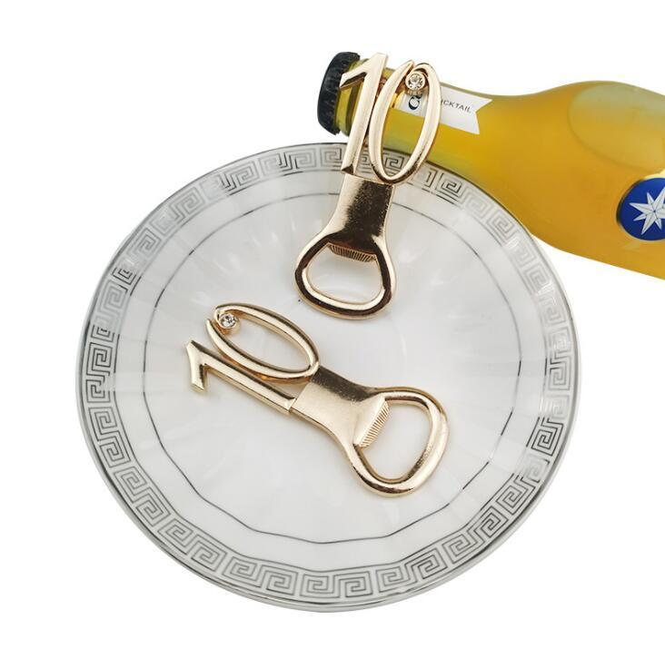 Numbers Bottle Opener 10 20 Anniversary Gold Beer Bottle Openers Metal Openers for Wedding Souvenirs for Guests Birthday Party Gifts Favors