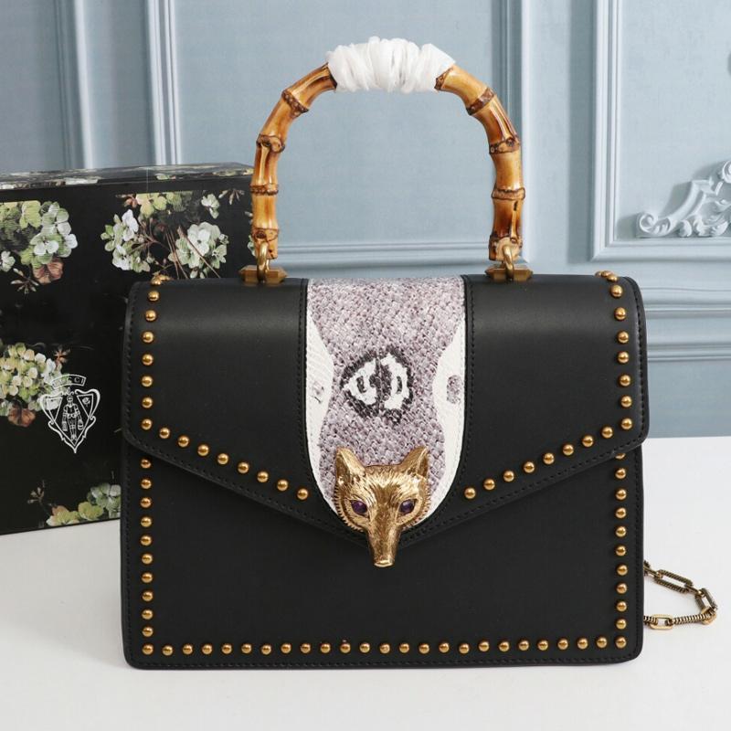 Poignée de rabat qualité sacs à bandoulière à sacs à main sacs à main sac à main en cuir véritable sac de sac à intérieurs Bamboo Fox Tête haute chaîne à glissière femmes B PSXC
