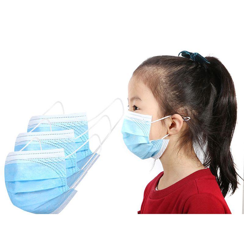Cara anit máscaras capa adulto no tejido 3 niños colorido cara azul desechable máscara de polvo 2020 máscaras de 3 capas de la boca de 3 capas Facenas de chilido JLVMQ SSMA