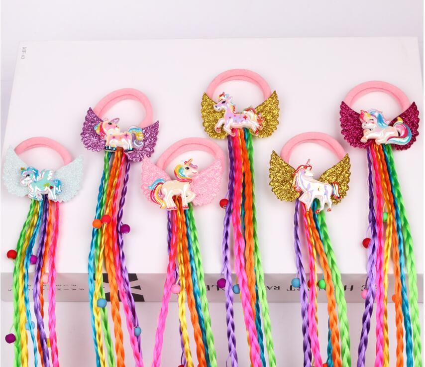 New Unicorn Design Crianças Peruca Elastic Hair Bands Meninas Tranças Unicórnio Travão De Cabelo Torcido Torcido Doce Crianças Arco-íris Borracha 20pcs /
