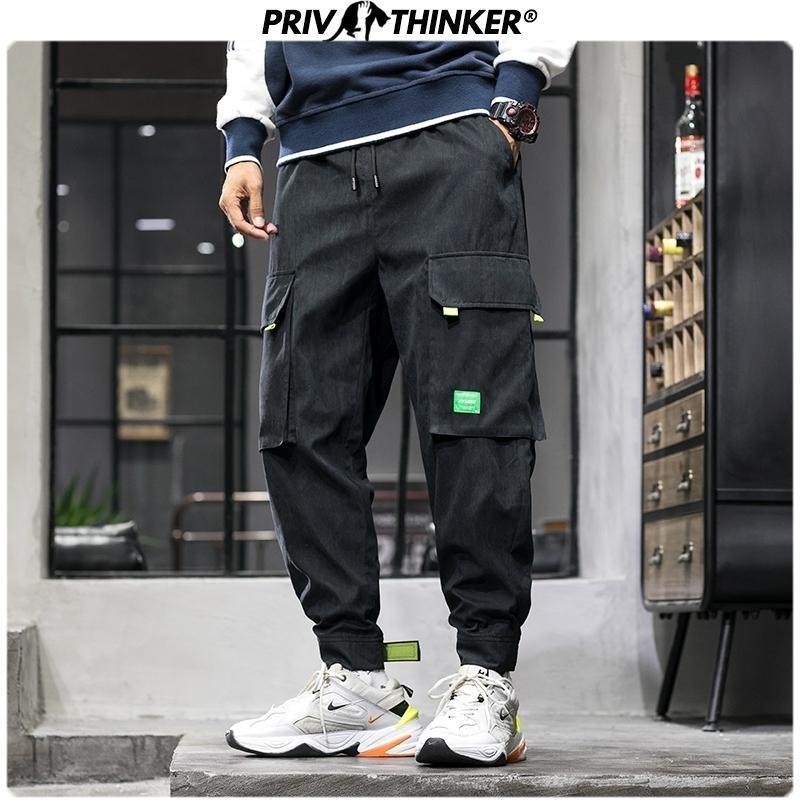 Privathinker erkek Sonbahar Gevşek Safari Tarzı Joggers Erkekler Harajuku Cepler Harem Pantolon Erkek 2020 Moda Gevşek Pantolon 5XL Pantolon T200704