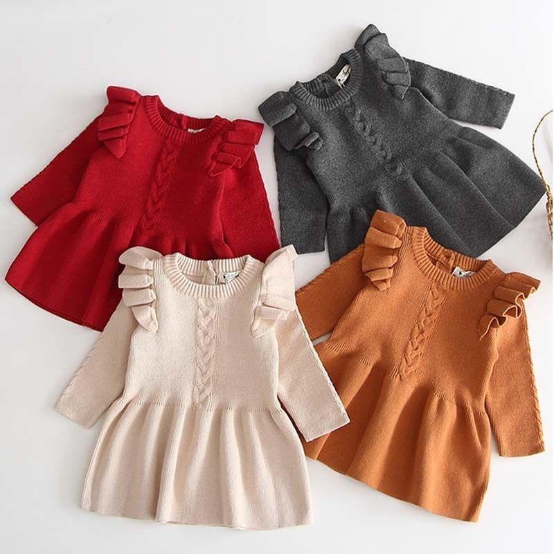 Kış Sonbahar Kız Elbise Çocuk Giysileri Çocuklar Kızlar için Elbiseler Parti Elbise Uzun Kollu Örme Kazak Toddler Kız Elbise 201128