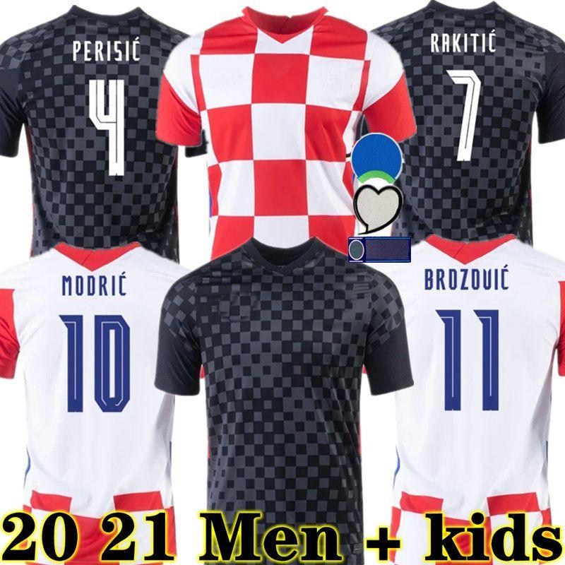 Croatia Modric 2020 Nationalmannschaft Mandzukisches Zuhause Fussball Jersey Perisic Rakitic Srna Kovacic 2021 Fußballhemden Erwachsene Männer + Kids Kit
