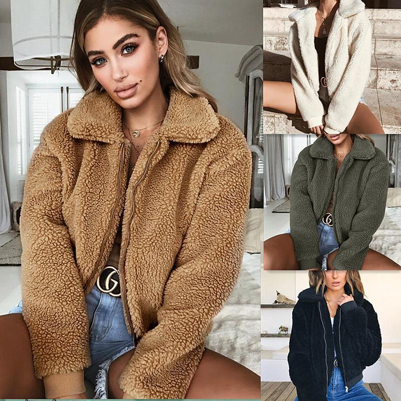 4 색 S-XL 여성 겨울 따뜻한 테디 베어 포켓 솜털 코트 양털 모피 자켓 겉옷 까마귀