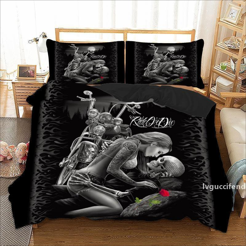 Gothic Skull Bedding Set Twin Full Queen King Double Sizes Duvet Cover with Pillow Cases Rider Girl Bed Linens Set