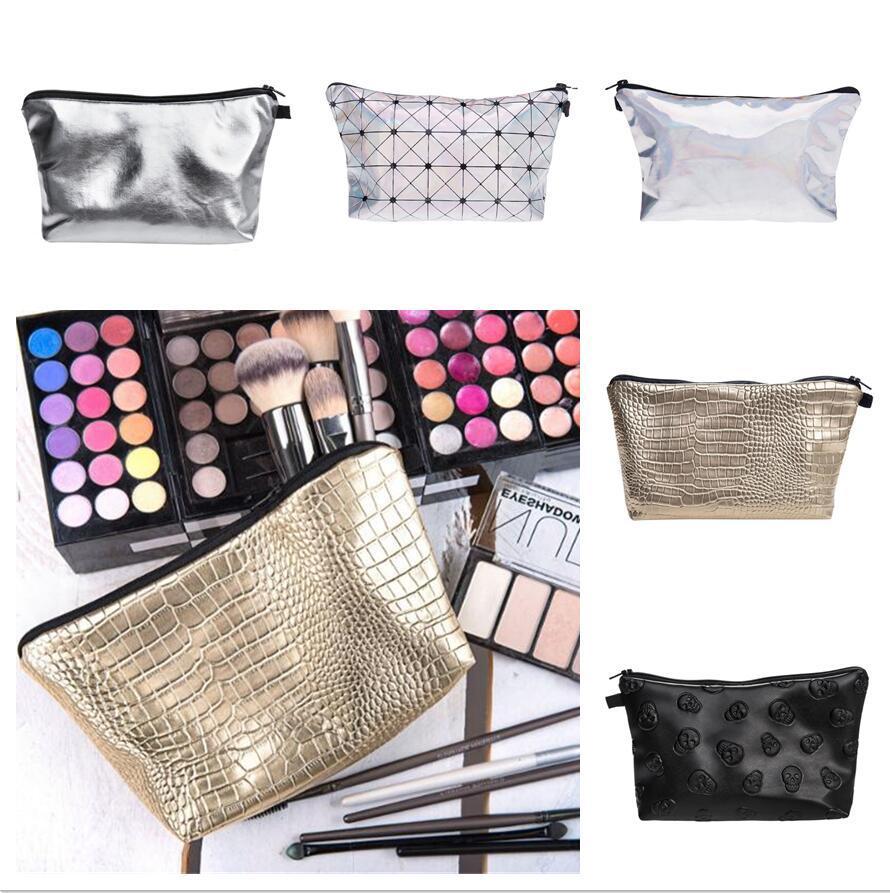 Bolsa de cuero cosméticos organizador delicado maquillaje bolsa de viaje bolsa de viaje maquillaje bolsa señoras embrague moneders organizador bolsa de aseo
