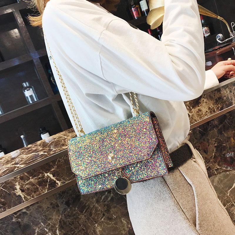 И звезда блесток цепь плеча квадратная сумка модная одна сумочка женская свежая сумка Сладкая маленькая 12 * 19 * 7см xrnok