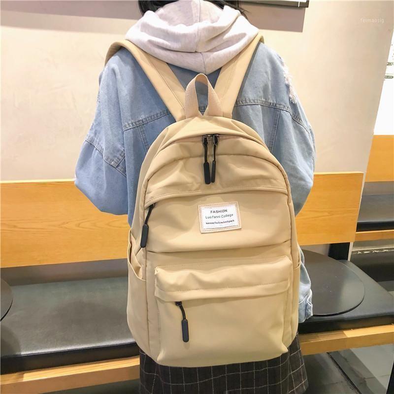 Jiulin Su Geçirmez Naylon Kadın Sırt Çantası Kadın Büyük Kapasiteli Yüksek Schoolbag Kore Vintage Kız Omuz Çantaları Seyahat Çantası Mochila1