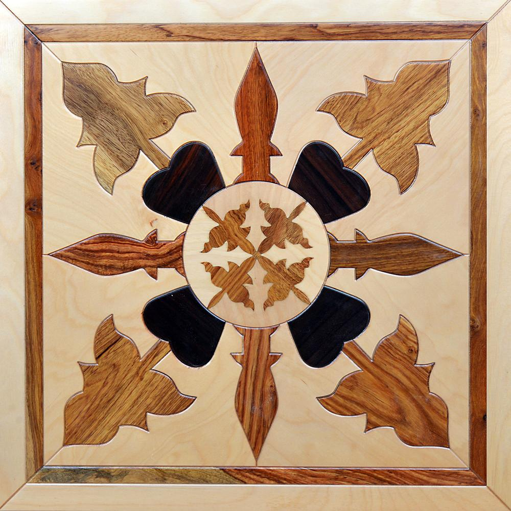 Rosewood flooring star parquet medallion modern art woodworking inlaid marquetry decorative wallpaper square tile panels solid parkett birch