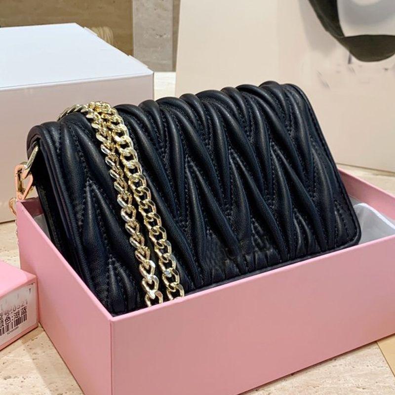 Flip Mini Handbag Soft Lambskin Leather Shoulder Bag Detachable Gold Chain Crossbody Bag Flap Messneger Bags Wrinkle Wallet Gift Box