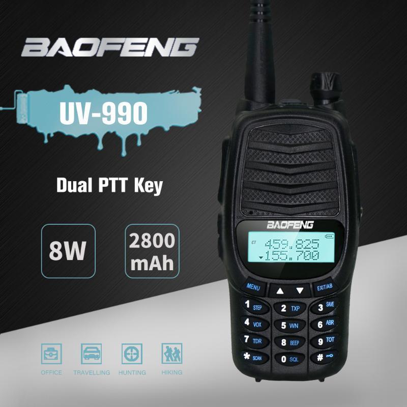 보풍 UV990 무전기 8W 고성능 전문 CB 라디오 UV990 트랜시버 128CH VHFUHF 휴대용 UV 990 개 사냥 라디오