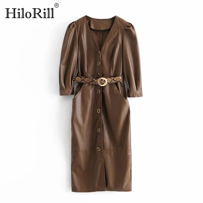 Hilorill Streetwear Brown Color Cuir Robe En Cuir PU Femmes V ecoux Col Volide Robe Midi avec courroie Feulée Sleeve Sleeve Lady Robe droite B1203