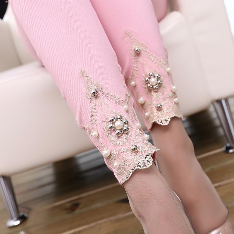 Lady Primavera Autunno Cotton Blended Pants Pantaloni a matita Casual Skinny Leggigns Slim Floral Floral Pizzo Capris Pantaloni bianchi rosa