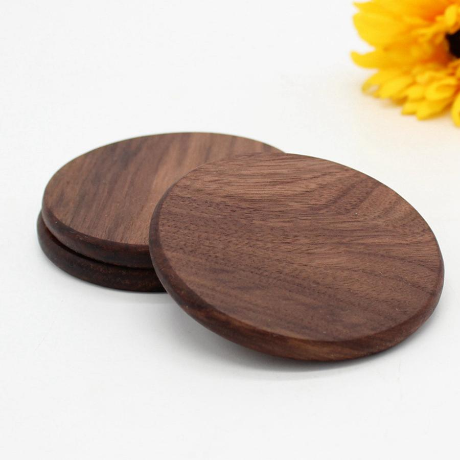 Black Walnut Wooden Coaster Retro Insulation Cup Mat Household Square Round Coaster Insulation Pads Table Decoration RRD3564
