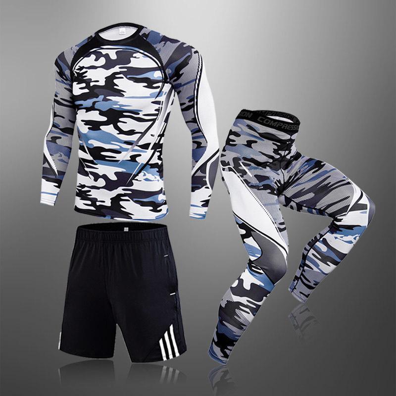 Männer Fitness Strumpfhosen Jogging Langarm Kleidung Tops Sportanzug Kompression Schnelltrocknende Thermal Unterwäsche Männlich