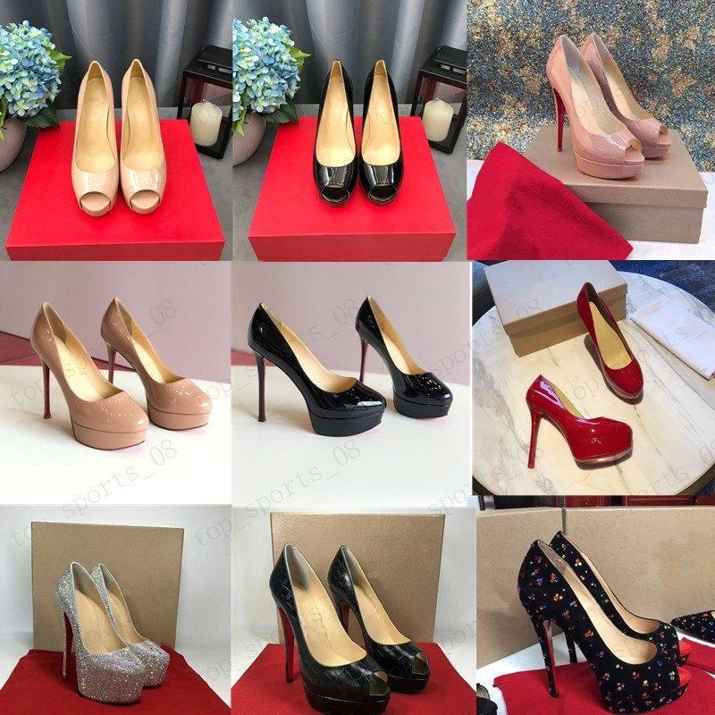 19 الكلاسيكية الأحمر أسفل عالية الكعب منصة مضخات الأحذية عارية / أسود براءات الاختراع الجلود زقزقة تو النساء اللباس الصنادل الزفاف أحذية حجم 34-45