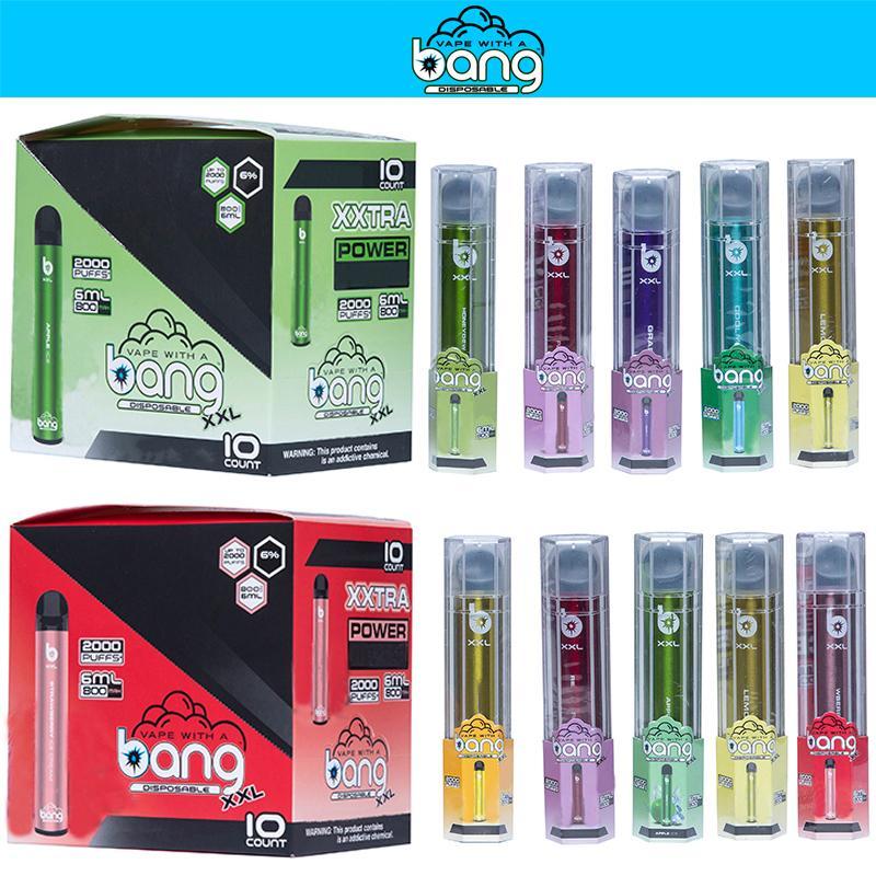 Новый Bang XXL 2000 Puffs XXTRA Одноразовый Vape Pen 800MAH Батарея Нет необходимости Наполнение 6 мл POD 6% Содержит горячую продажу DHL бесплатно