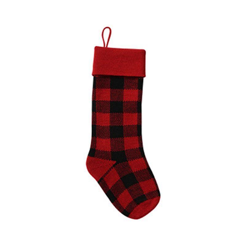 Knit Christmas Stocking Buffalo Buffalo Azioni di Natale Plaid Xmas Socks Candy Regalo Bag Decorazioni natalizie IFDGG