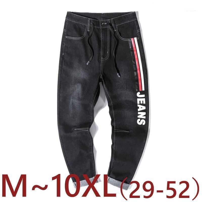 Мужские джинсы 10XL большой размер мужчин Осень и зима синяя черная мода повседневные прямые джинсовые брюки мужские полосы брюки конические штаны1