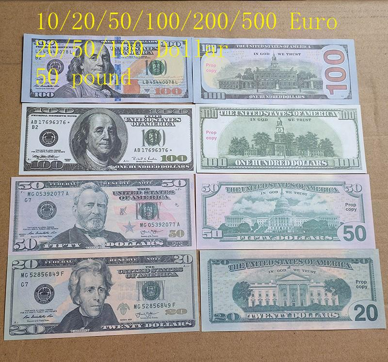 Mejor Calidad Euro Fake Money Pook Película Prop APOR Dólar Faux Billet Barware Play Play Bills Billete Billete Cuenta Prop 100pcs / Pack 01