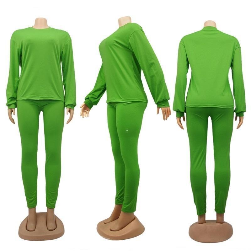 JH Güz Kış Kadın İki Parçalı Artı Boyutu Giyim Eşofman Katı Renk Kazak Tayt Pantolon Pantolon Kıyafetler Set Sweatsuits Clothes2