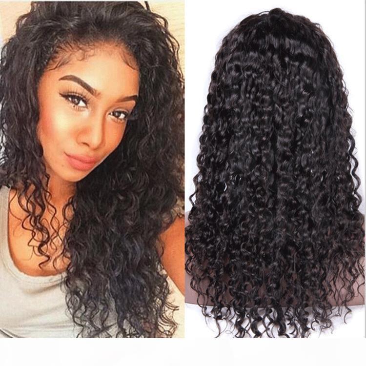 Кружева передний натуральный цвет человеческих волос для волос для чернокожих женщин Кудрявые вьющиеся девственные волосы полное кружево с детскими волосами обесцвеченные узлы