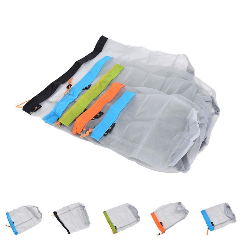 Storage Bags Camping Sports Portable Tavel Mesh Stuff Sack Drawstring Bag Ultralight Outdoor Travel Kit Equipment 5 Sizes