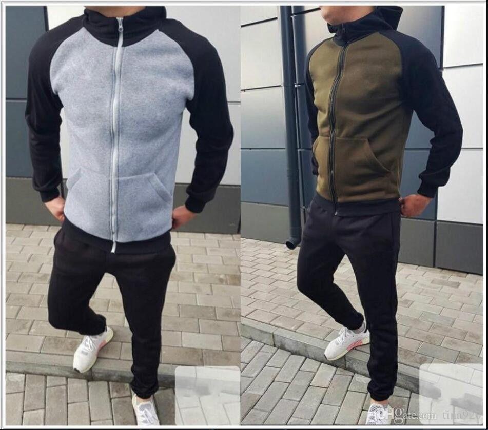 hot Mens Hoodies and Sweatshirts Sportswear Man Polo Jacket pants Jogging Jogger Sets Turtleneck Sports Tracksuits Sweat Suits S-XL