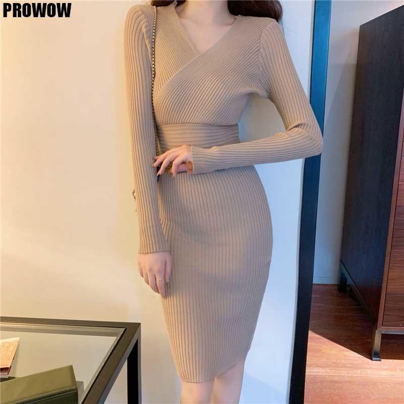 Цельные женщины талии V-образным вырезом платья корейский элегантный шик вязаный свитер 2020 зимние женские длинные рукава MIDI платье MIDI