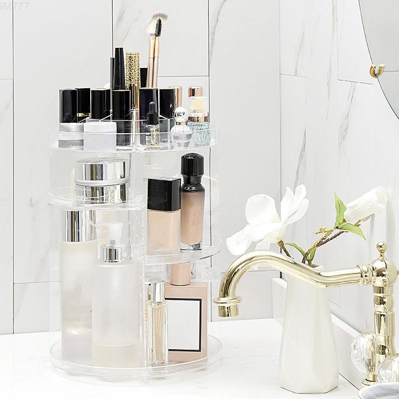Liyimeng creativo 360 organizador giratorio desmontable maquillaje ajustable soporte de almacenamiento joyería caja de cosmética y1113