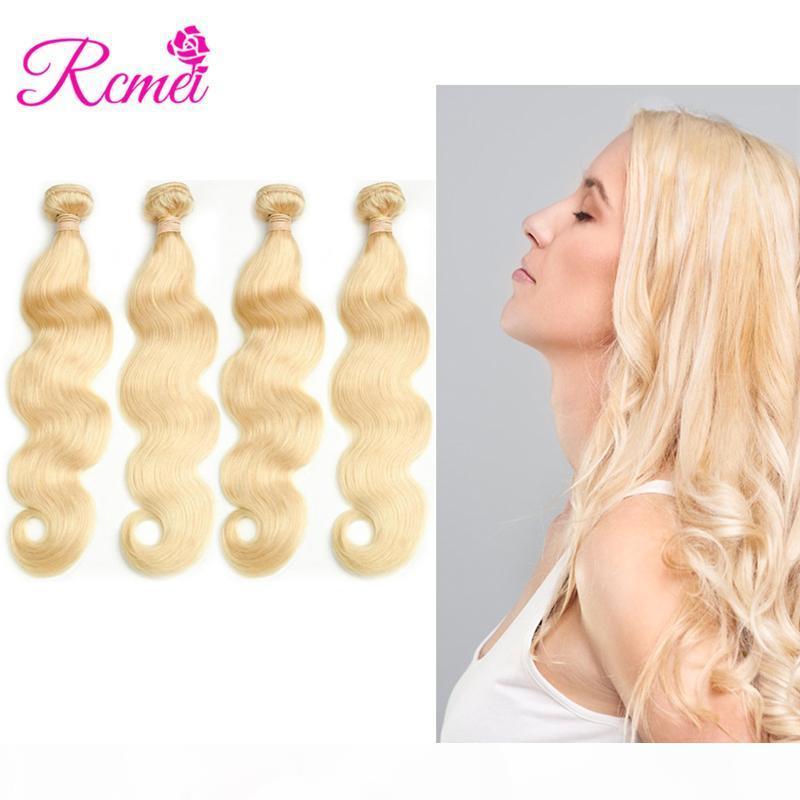 Rcmei Peru 613 # Vücut Dalga Sarışın Saç Paketler # 613 Remy saç 4 Adet Platinum Blonde İnsan Saç Dokuma Kıvırcık Kuyusu tutun