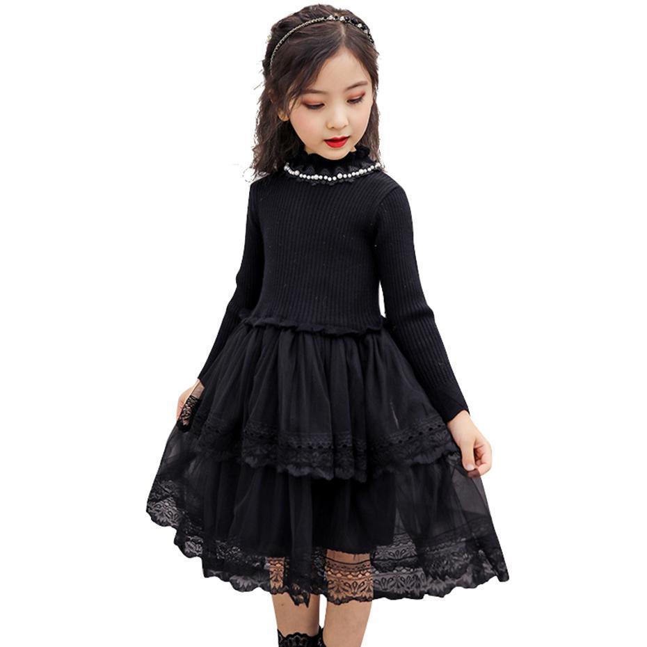 Vestidos de punto de punto para niñas Vestidos de suéter de encaje para niña otoño vestido de invierno niños traje adolescente para niñas 6 8 10 12 14 W1227