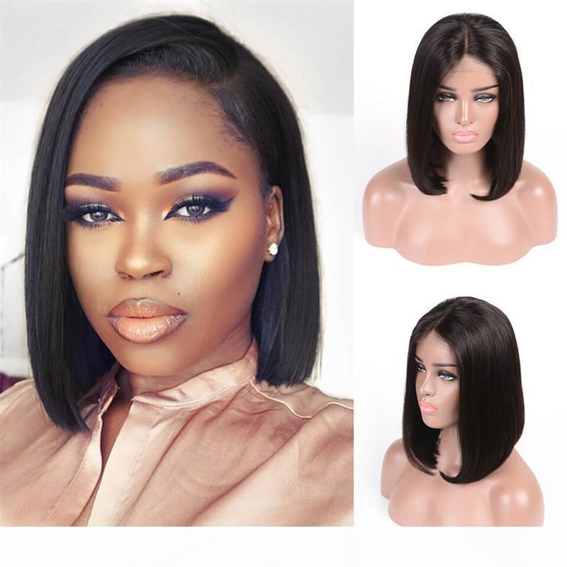 Sedosa recta corta corta bob del frente del cordón del cabello humano peluca con pelucas de encaje completo 8 ~ 14 pulgadas Remy Hair Pein Plaind Hairline natural para mujeres negras