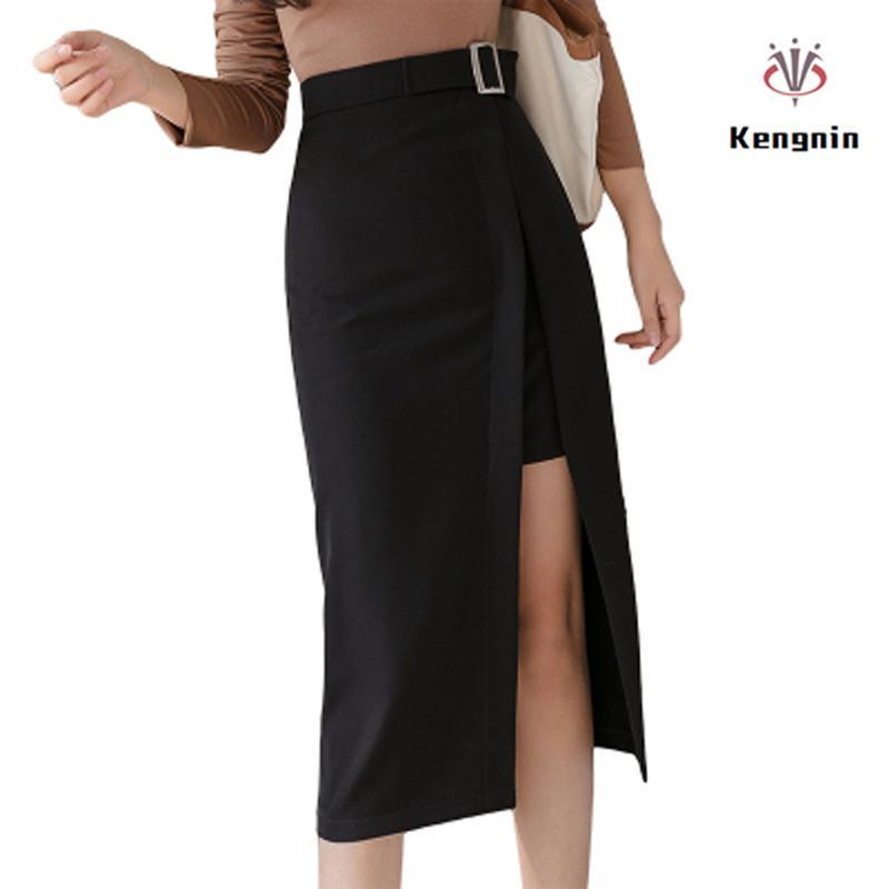 Faldas Asimétricas de las Mujeres 2020 Primavera Verano Estilo Coreano All-Match Ladie Falda Sashes Ropa de Marca Color Sólido Faldas Nuevo Q1209