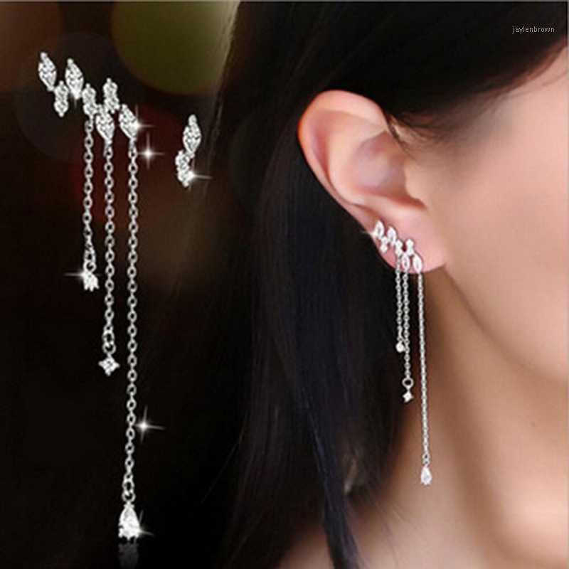Шпильки S925 стерлингового серебра цветные длинные серьги с кисточкой Bling Zircon камень милый корейский для женщин мода ювелирные изделия1