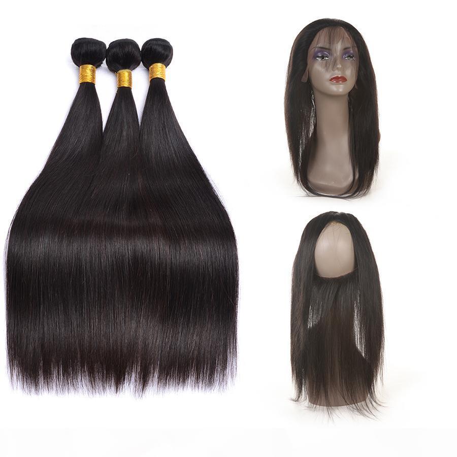 8A класс бразильские волосы девственницы пакеты прямые волосы 360 кружева фронтальные с 3 пучками 100% необработанные наращивания волос человека