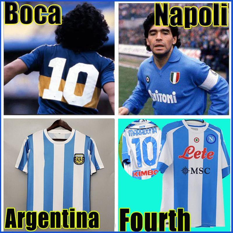 Retro 1986 Argentina Futebol Jersey 1978 Boca Juniors 1981 Vintage Napoli quarto 4th 1987 1988 Camisa de futebol Kit Classic Tops