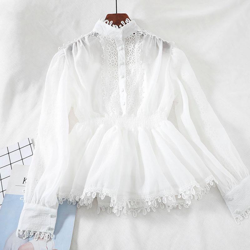 Femmes blouses et tops coréens manches longues patchwork chemise de dentelle chemise blousière blouse chemise tunique creuse dames chics blusas