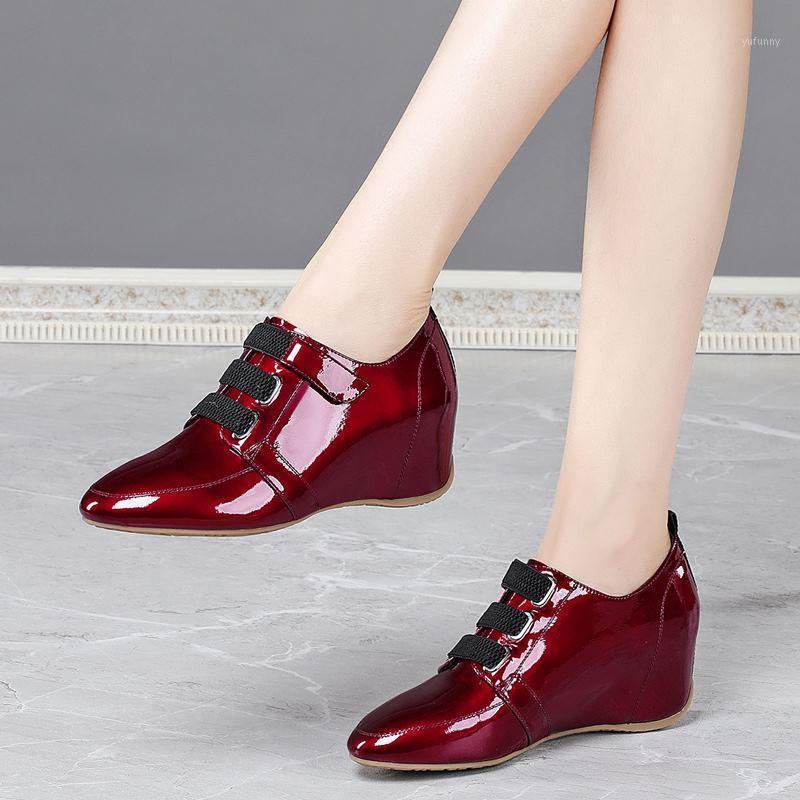 Dimensione allbitefo 34-42 impermeabile e antiscivolo in vera pelle tacchi tacchi tacchi scarpe zeppe tacchi moda donne rosse scarpe tacco alto1