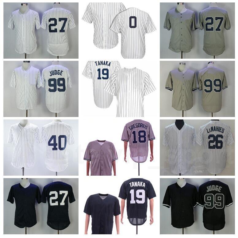 Hommes 26 DJ Lemahieu Jersey Baseball 40 Luis Severino 99 Aaron Juge 0 Adam Ottavino 27 Giancarlo Stanton Bleu Blanche Blanc Blanc Blanc