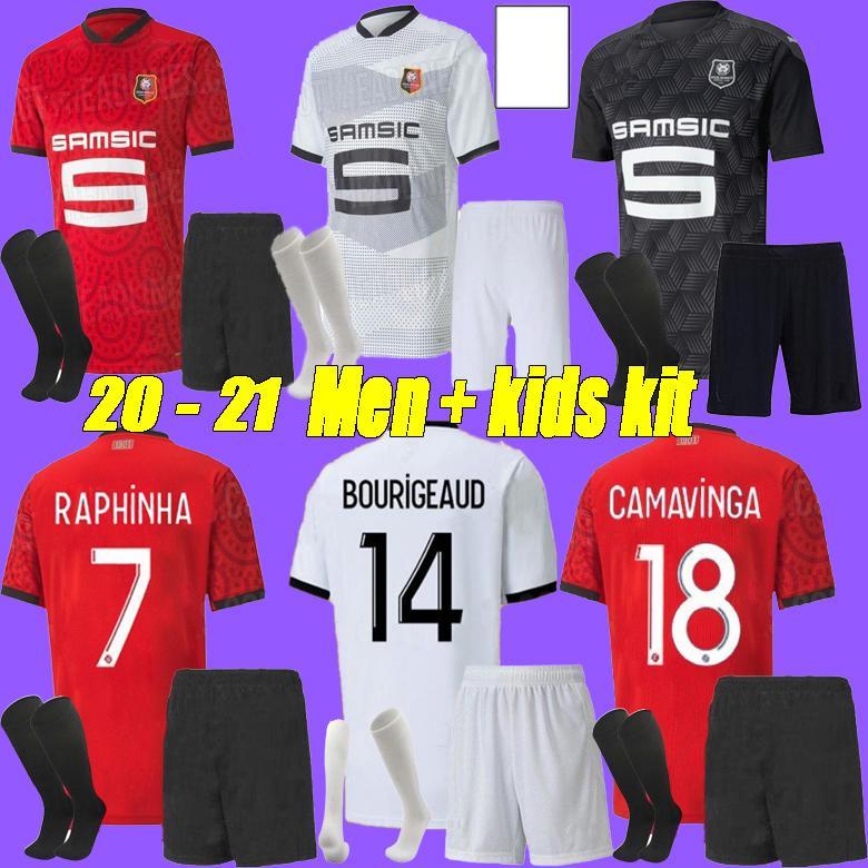 Erkekler + Kids Kit 20 21 Rennes Soccer Jersey 2020 2021 Raphinha Niang Terrier J.Martin Stade Rennais FC Bourigeaud Away Futbol Gömlek