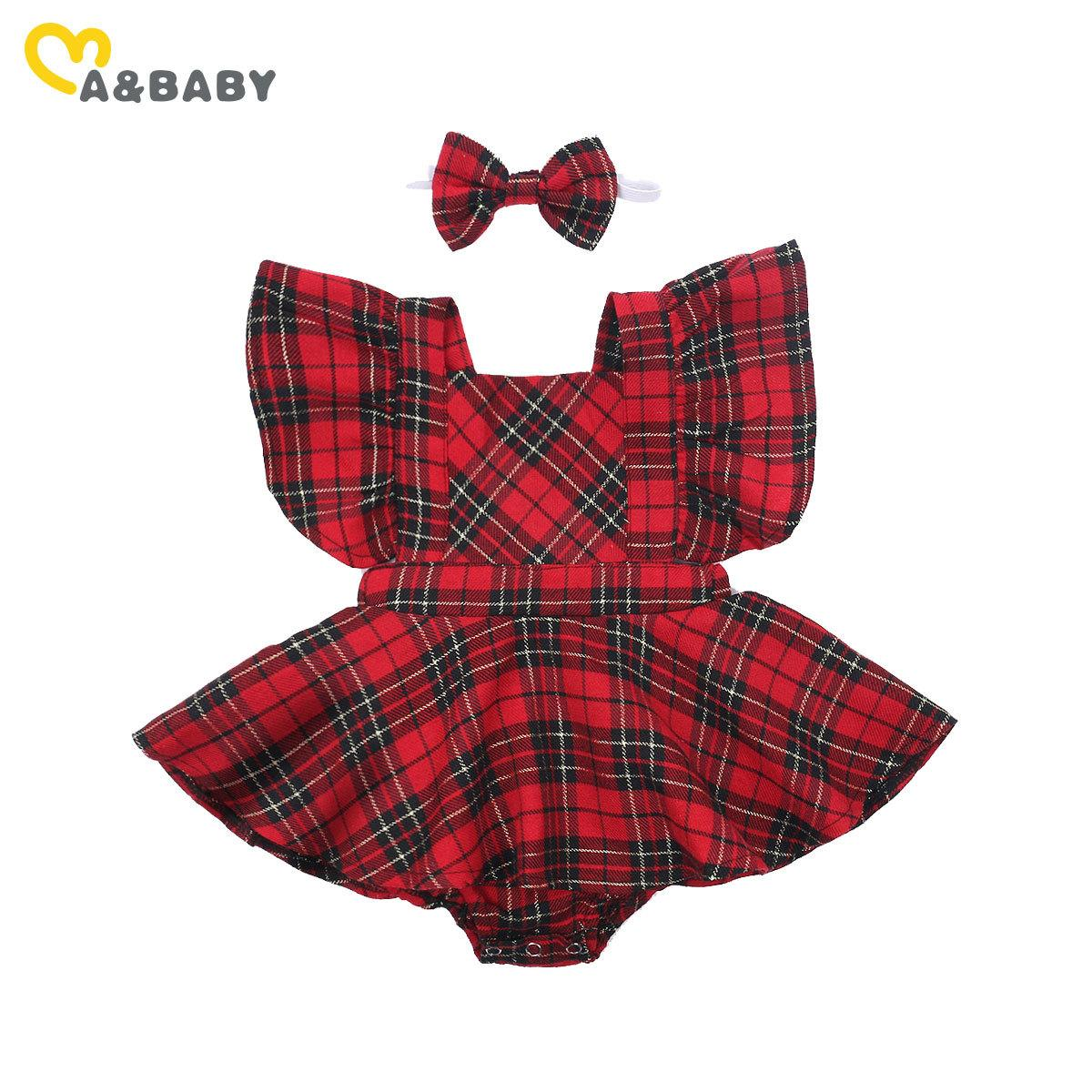 Ma&Baby 0-24M Christmas Baby Girls Red Romper Newborn Infant Baby Girl Ruffles Plaid Jumpsuit Xmas Party Baby Costumes Z1121
