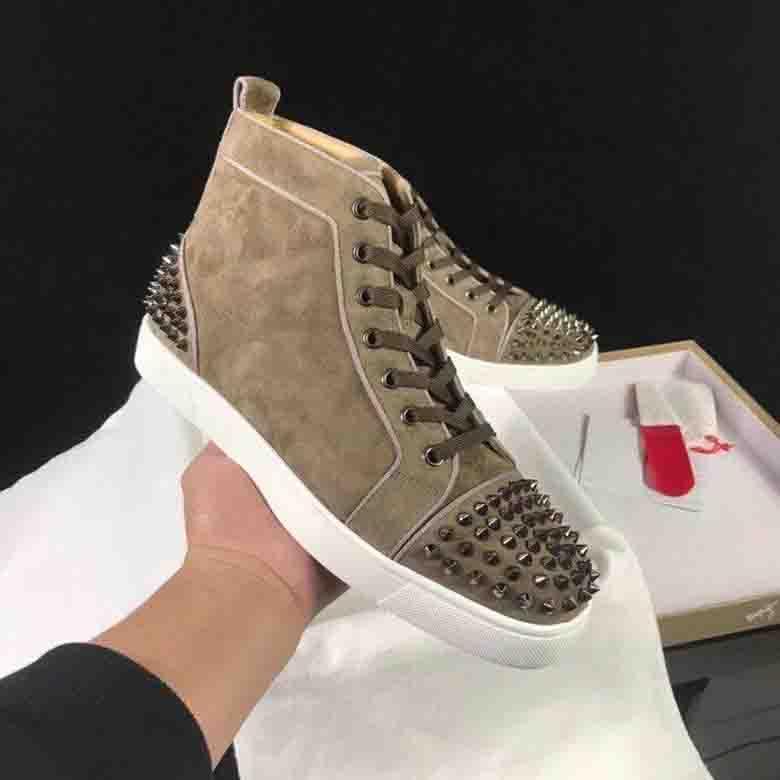 الفضلات المصممين أحذية رياضية للرجال أحذية عالية الأعلى جلد طبيعي من جلد الغزال، باريس الأحمر أسفل أوم الشقق المسامير المدربين الرياضية المسامير