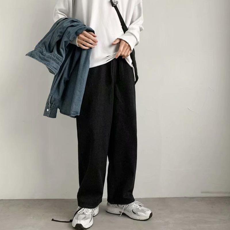 Erkek Kot Bahar ve Kış 2021 Yeni Geniş Bacak Kot Koleji Ins Mopping Pantolon Gevşek Casual Genç Erkek Giyim