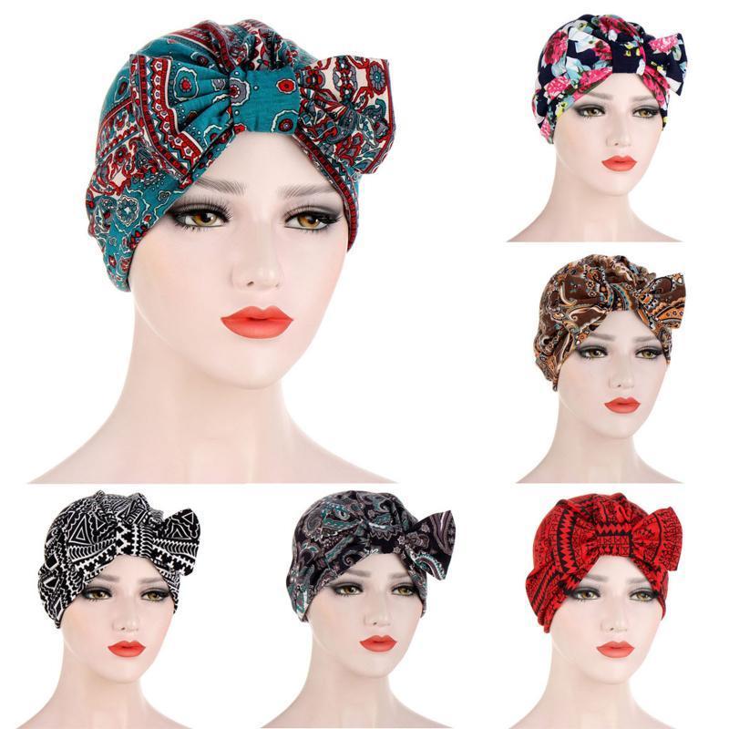 Beanie / Kafatası Kapaklar 1 adet Kadın Baskı Ilmek Hindistan Şapka Kasketleri Pogny Saç Fırfır Kanseri Için Kemik Kemik Katı Türban Şapkalar