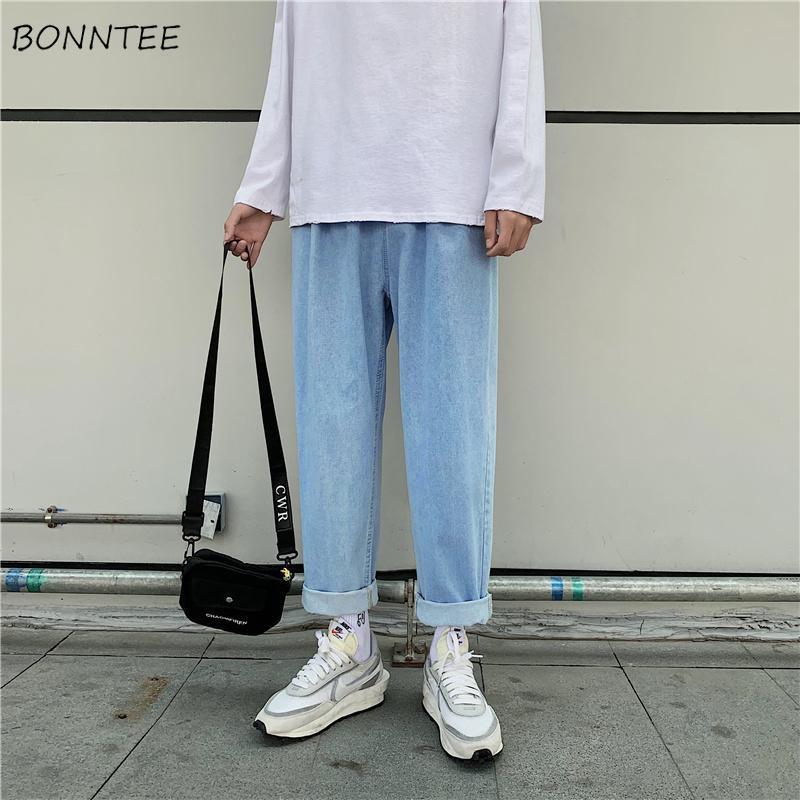 Мужские джинсы мужские джинсовые прямые свободные твердые сплошные сочетания мужской улицы повседневные брюки старинные корейский стиль ulzzang кнопка молнии