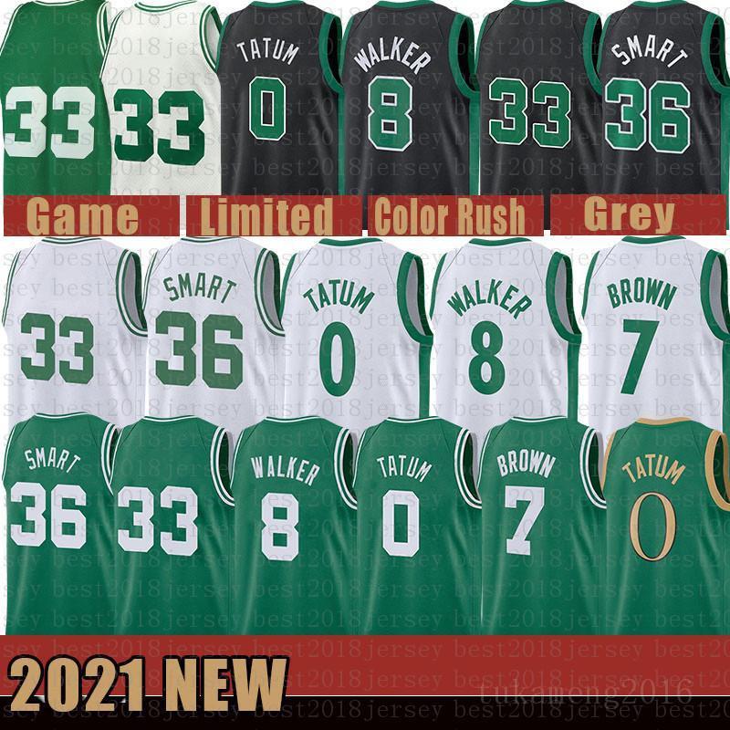 2021 Nova Jayson 0 Tatum Basketball Jersey Kemba 8 Walker Mens Larry 33 Bird Youth Kids Jaylen 7 Brown Malha Retro Marcus 36 Inteligente Multi