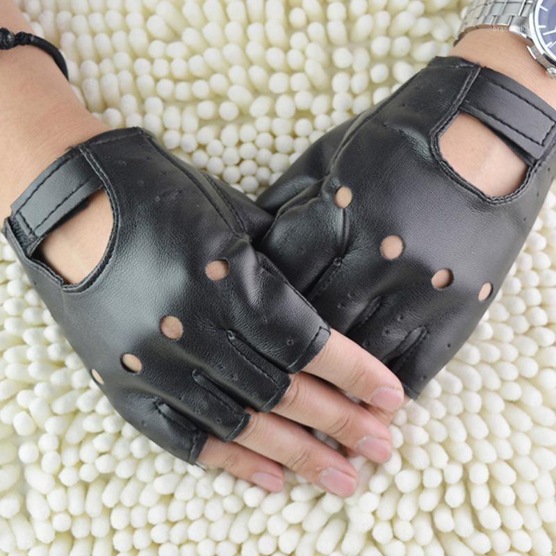 1 pair unisex fashion Black Outdoor Sport PU Leather Gloves Solid Fingerless Driving Punk Gloves Half Finger1